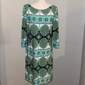 London Times Longsleeve Polyester Midi Dress